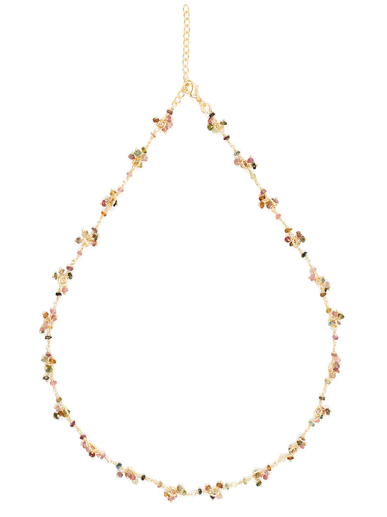 Tourmaline Gemstone Flower Necklace