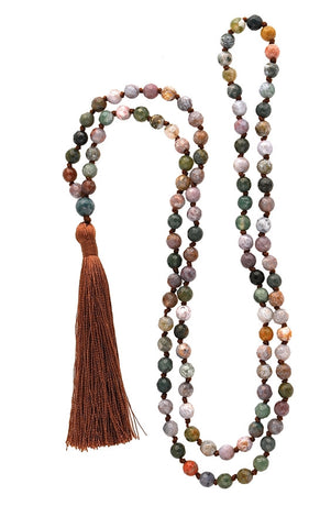 Indian Agate Tassel Mala