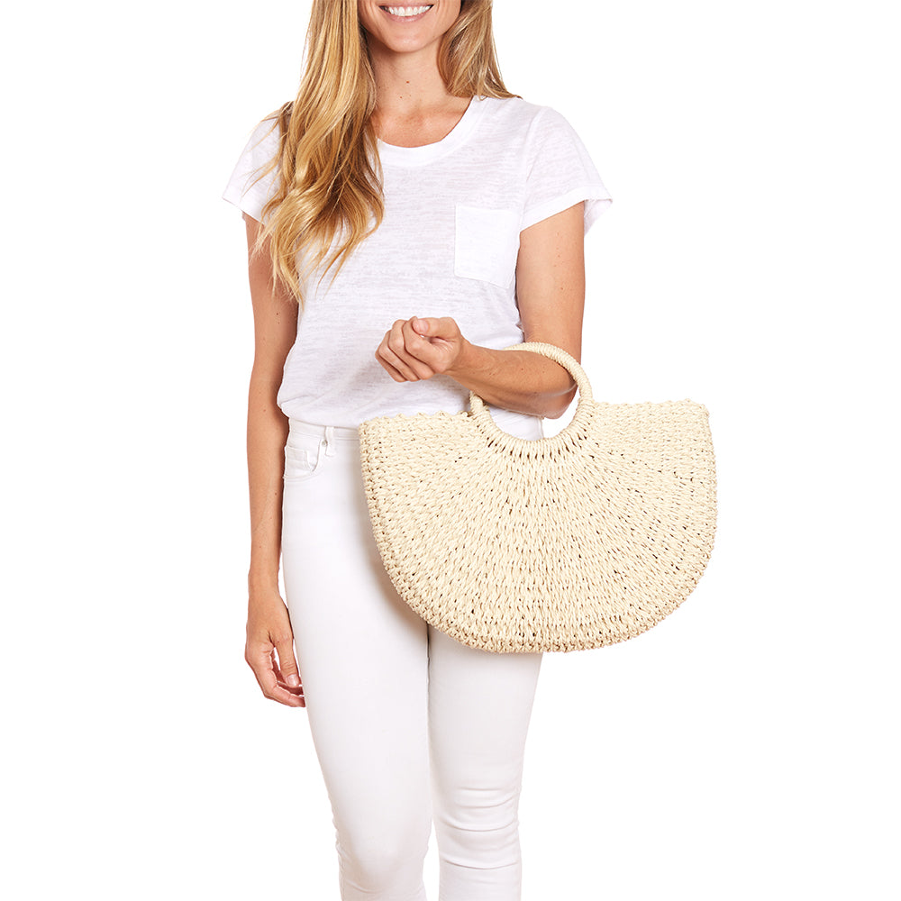 Ivory Half Moon Woven Tote