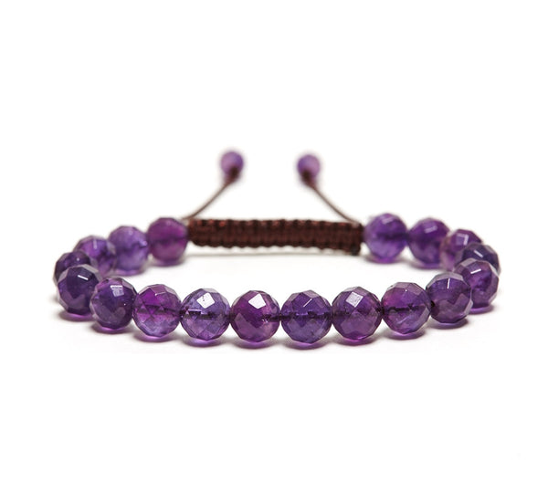 Amethyst Rose Faceted Gemstone Single Wrap Bracelet