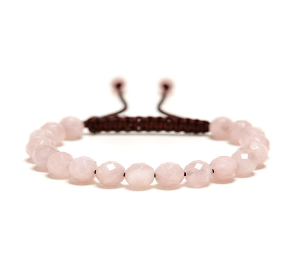 Rose Quartz Rose Faceted Gemstone Single Wrap Bracelet