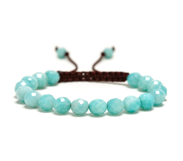Amazonite Rose Faceted Gemstone Single Wrap Bracelet