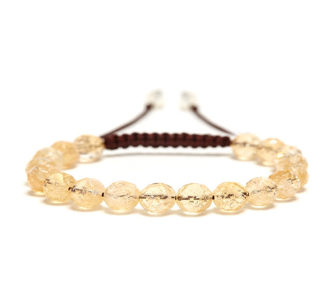 Citrine Rose Faceted Gemstone Single Wrap Bracelet