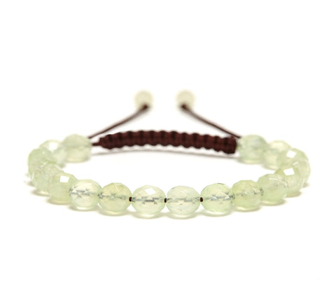 Prehnite Rose Faceted Gemstone Single Wrap Bracelet