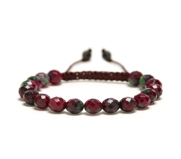 Ruby Zoisite Rose Faceted Gemstone Single Wrap Bracelet