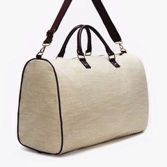 Beige and White Jacquard Weekender