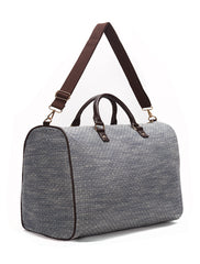 Navy and White Jacquard Weekender