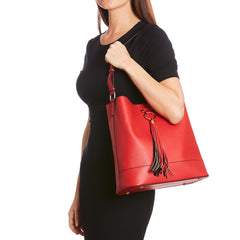 Red Lulu Tassel Tote Bag