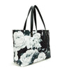 Black & White Rose Midnight Garden Floral Tote