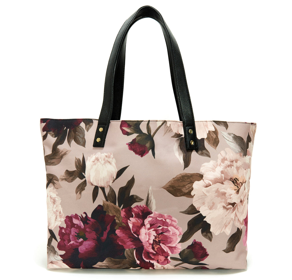 Peony Midnight Garden Floral Tote