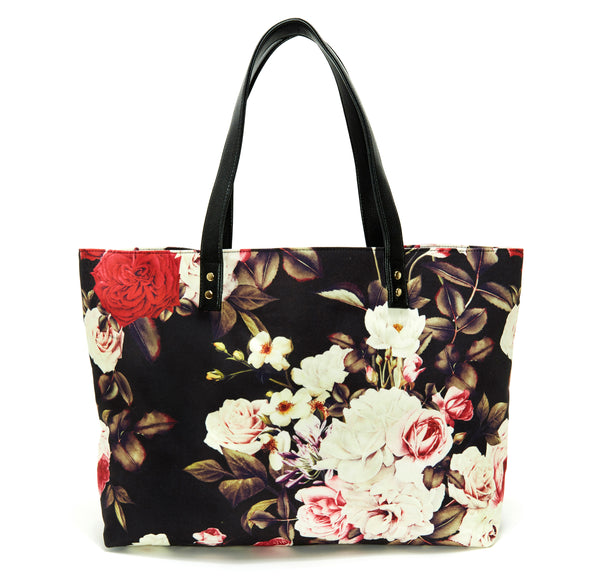 Rose Midnight Garden Floral Tote