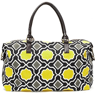 Yellow Modern Geometric Overnight Bag