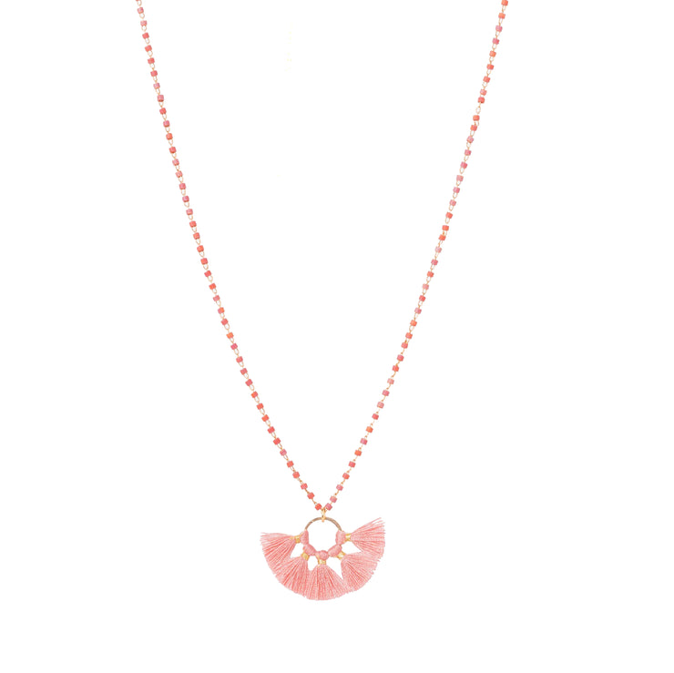 Coral Lulu Fan Tassel Necklace