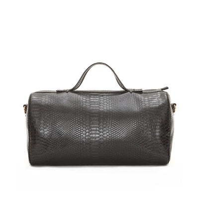 Black Snake Skin Barrel Bag