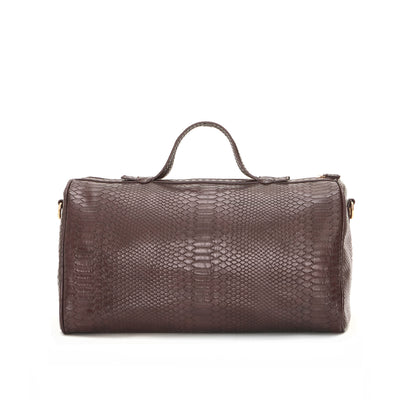Wine Snake Skin Barrel Bag