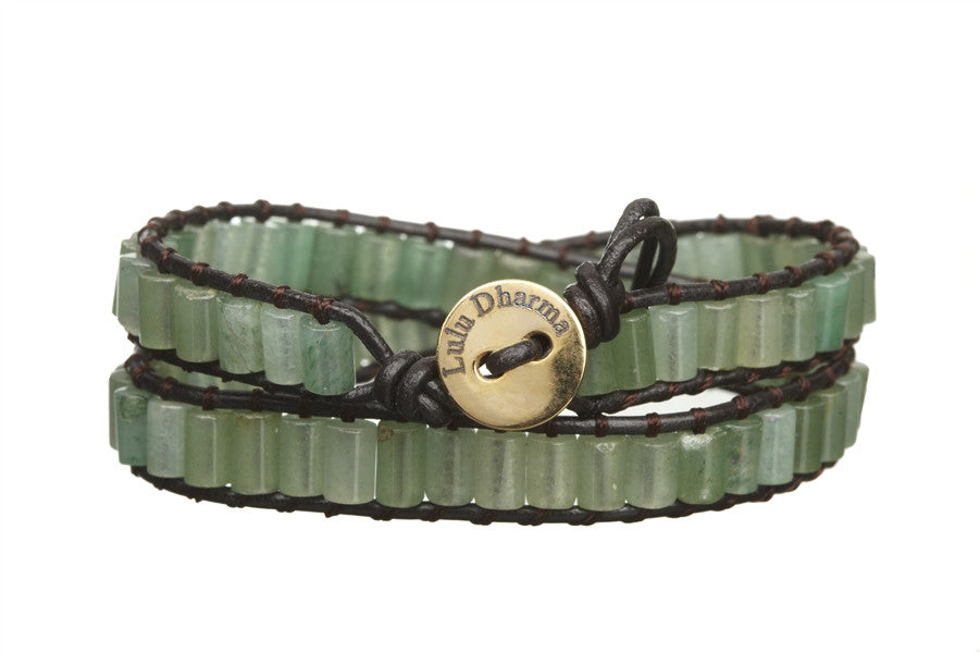 Green Aventurine Beaded Cylinder 2 Wrap Bracelet