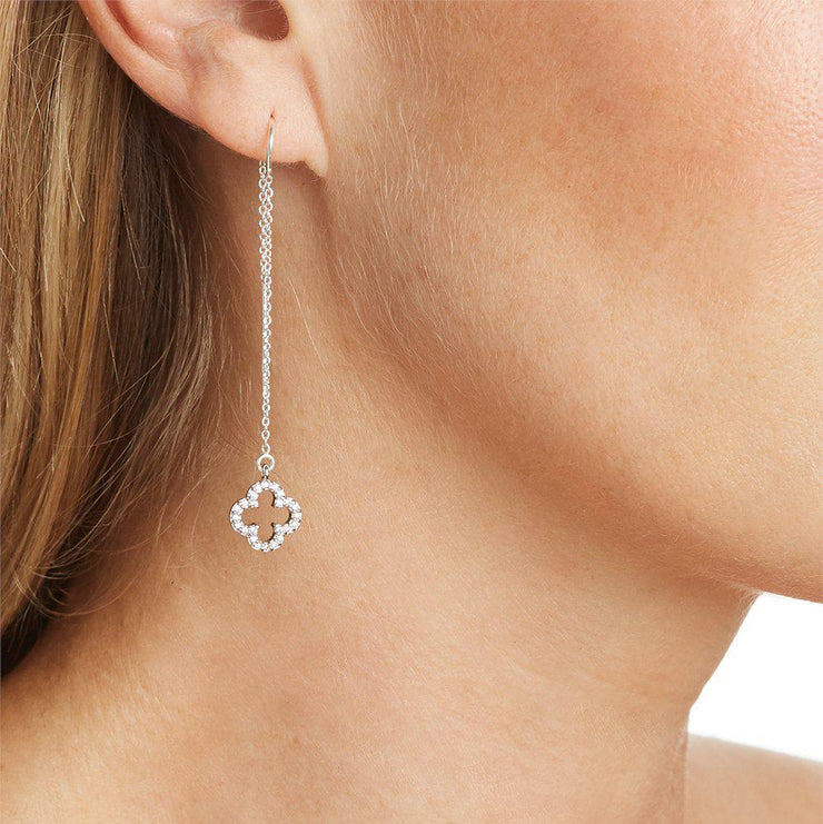 Four Leaf Clover Charm with Pave Crystal Earring in Silver