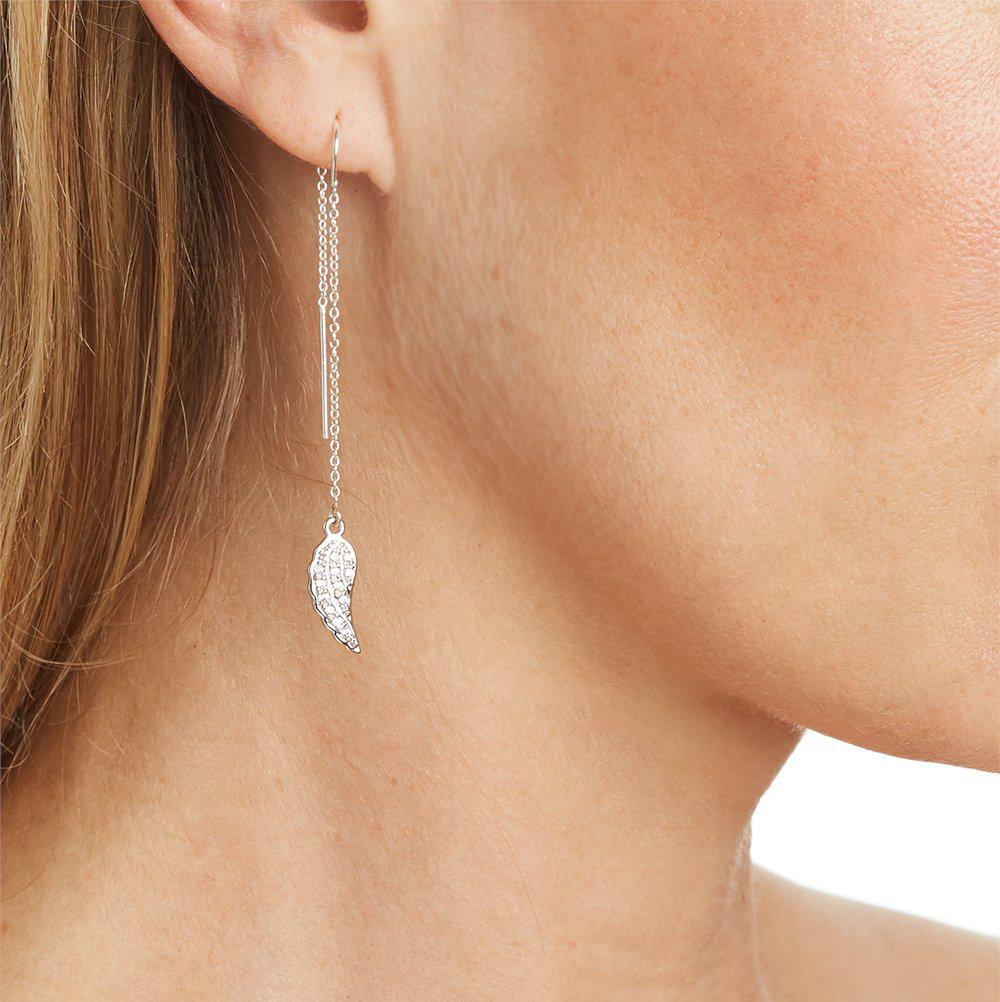 Angel Wing with Pave Crystal Earring in Silver