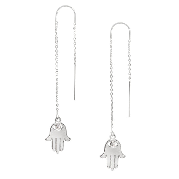 Hamsa Charm with Pave Crystal Eye Earring in Silver