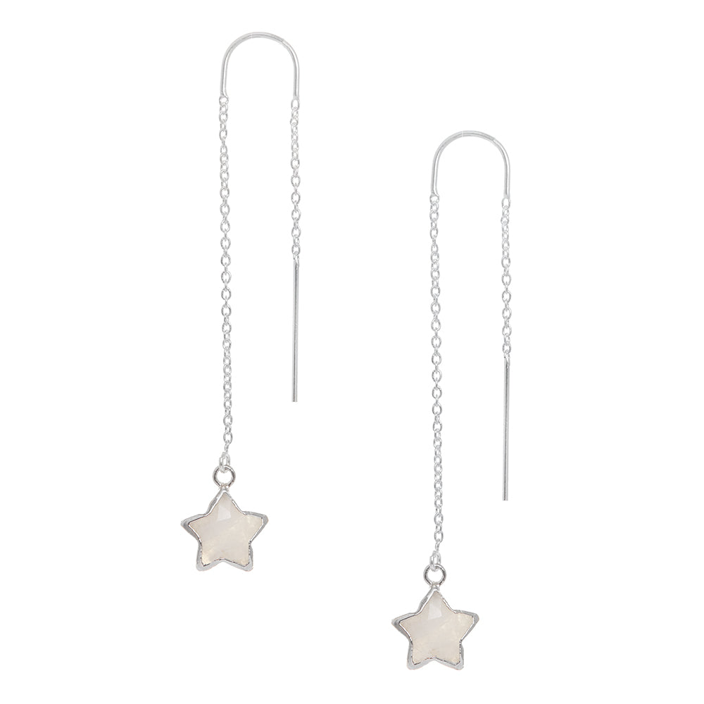Moonstone Star Charm Earring in Silver