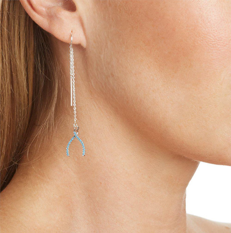 Wishbone Charm with Turquoise Pave Crystals Earring in Silver
