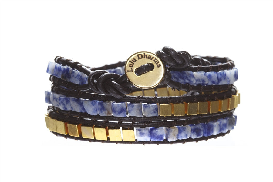 Sodalite & Gold Square Gemstone 3 Wrap Bracelet