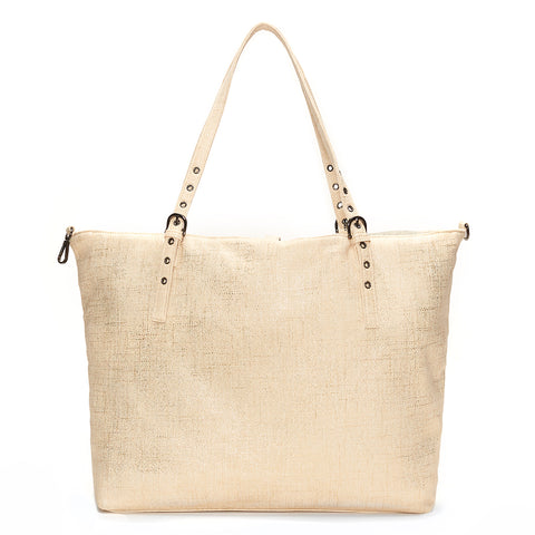 Gold Metallic Cream Linen Luxe Tote