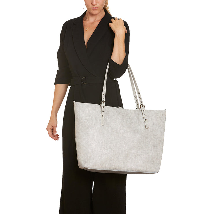 Silver Metallic Light Grey Linen Luxe Tote