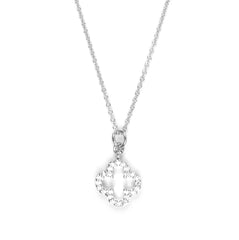 Four Leaf Clover Charm with Pave Crystal Necklace in Silver