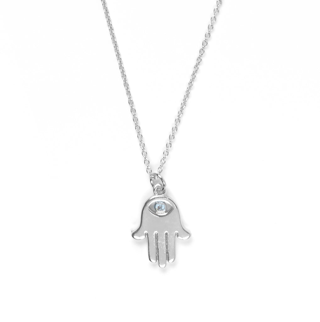 Hamsa Charm with Pave Crystal Eye Necklace in Silver
