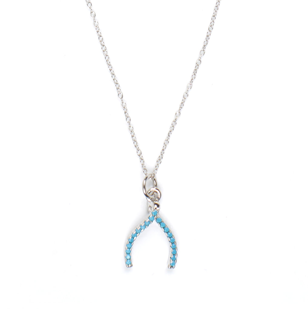 Wishbone Charm with Turquoise Pave Crystals Necklace in Silver