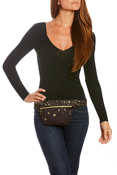Gold Stars on Midnight Hip Pack with RFID Protection