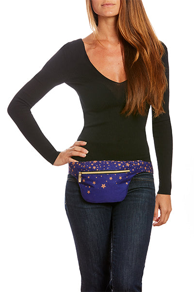 Rose Gold Stars on Ultra Violet Hip Pack with RFID Protection