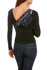 Silver Stars on Dark Indigo Hip Pack with RFID Protection