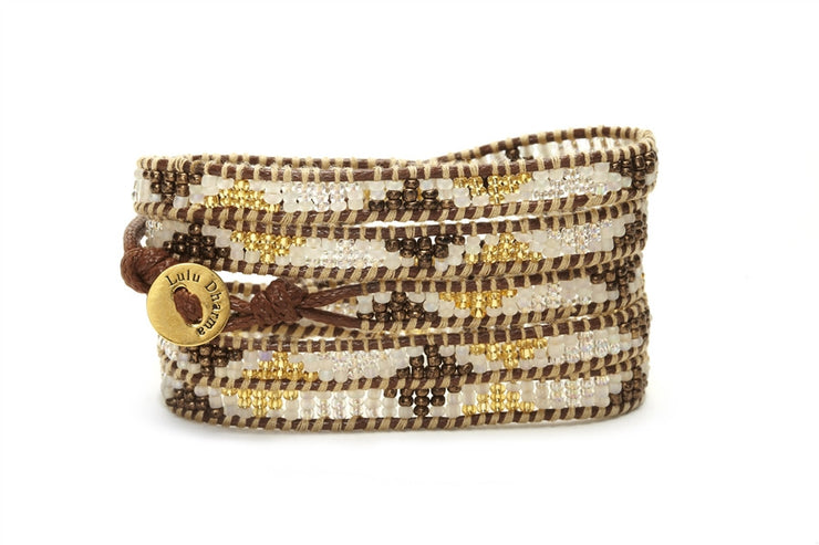 Golden Oak Seed Bead Wrap Bracelets