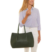 Hunter Green Napa Vegan Leather Tote