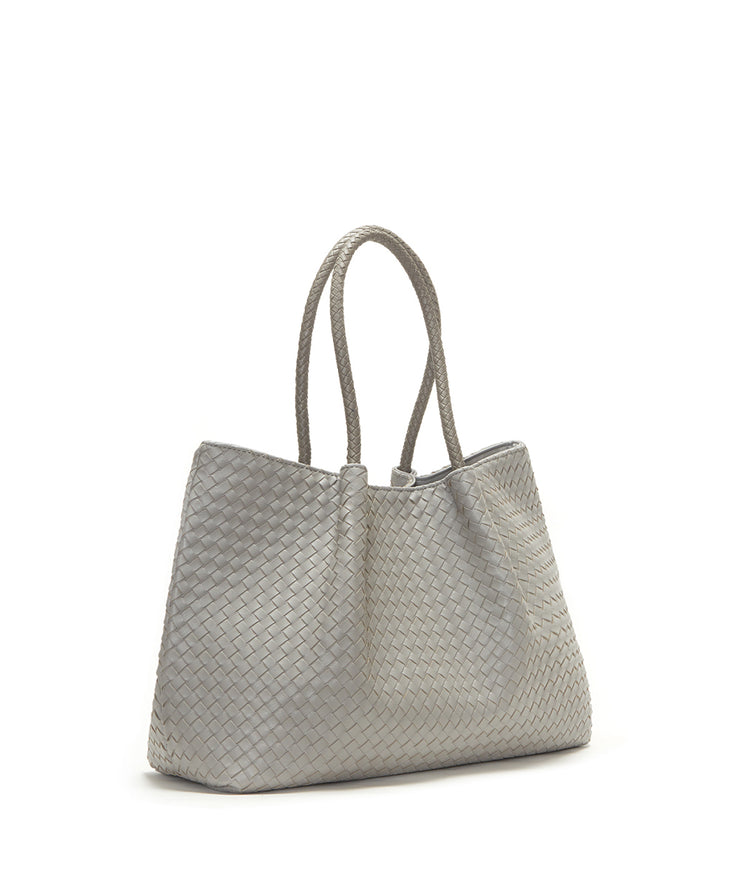 Light Gray Napa Vegan Leather Tote