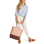 Pink / Chocolate Dual Vegan Leather Tote