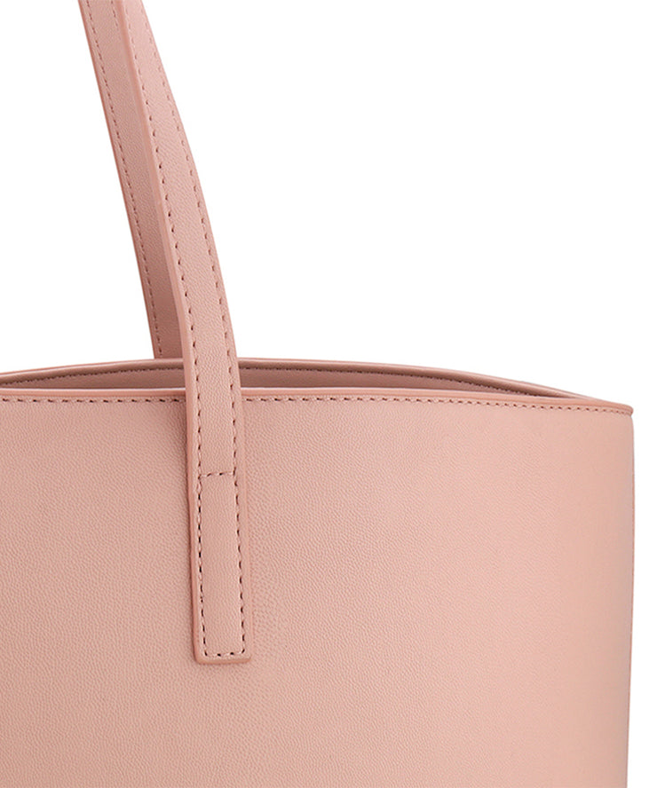 Pink Vegan Leather Tote