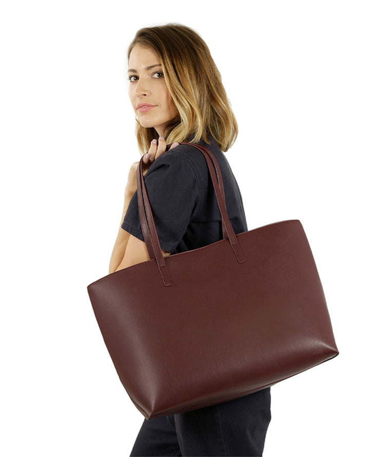 Wine Vegan Leather Tote