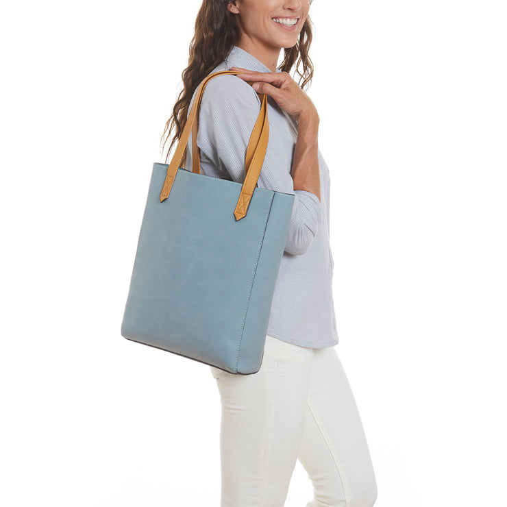 Blue Vegan Leather Tall Tote