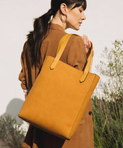 Cognac Vegan Leather Tall Tote
