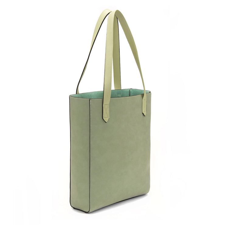 Green Vegan Leather Tall Tote