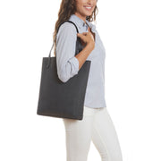 Black Vegan Leather Tall Tote