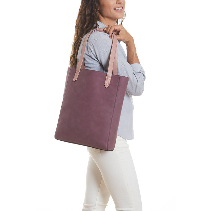 Mauve Vegan Leather Tall Tote