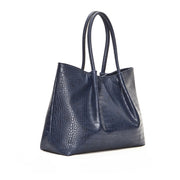 Navy Crocodile Cinch Tote