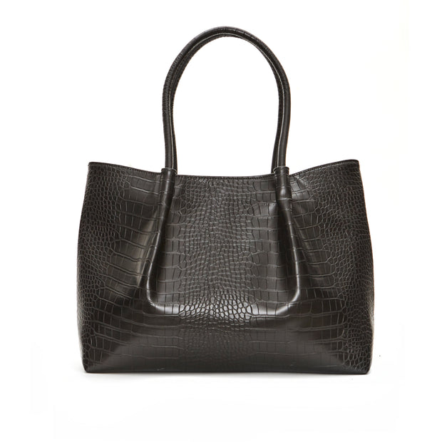 Black Crocodile Cinch Tote