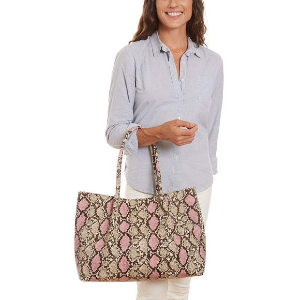 Pink & Black Vegan Snake Skin Cinch Tote