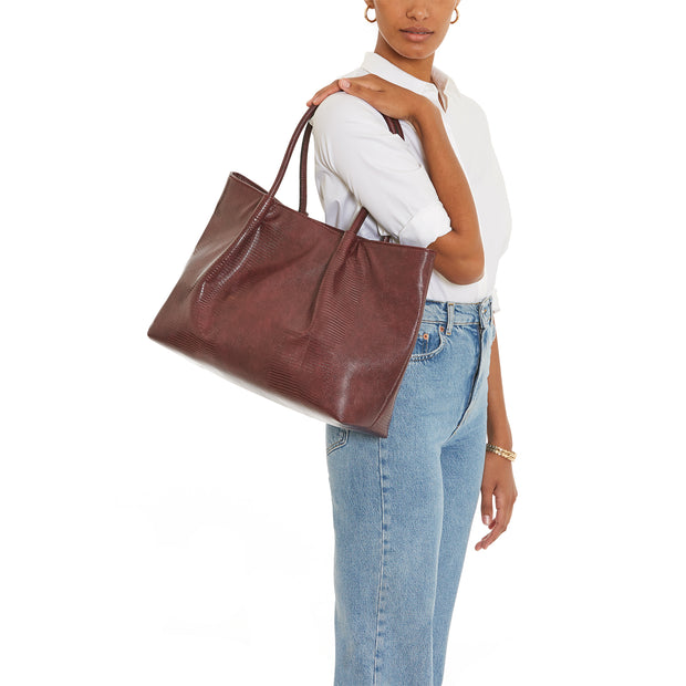 Burgundy Lizard Cinch Tote