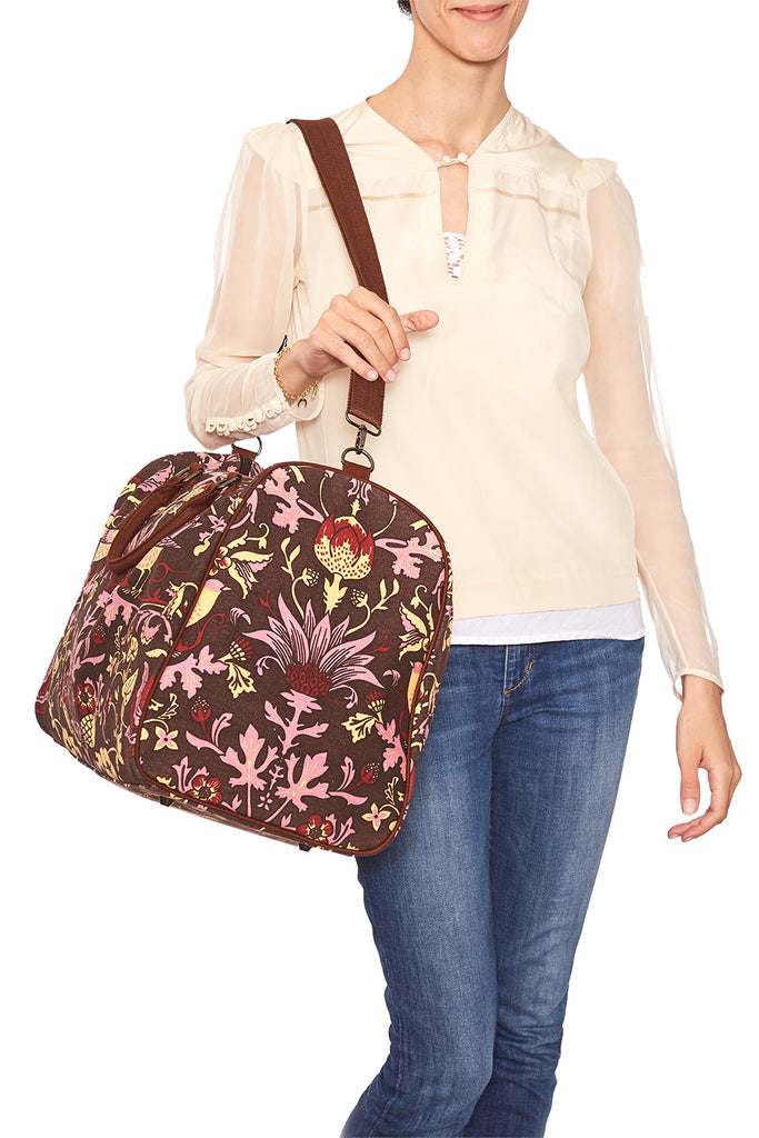 Pre-Order Brown with Rose Thorn & Thistle Carpet Bag